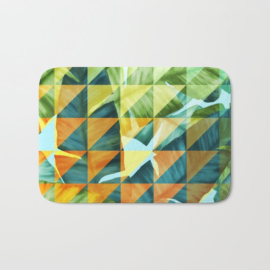 Abstract Geometric Tropical Banana Leaves Pattern Bath Mat