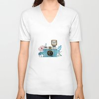 vintage camera V-neck T-shirts featuring Camera Vintage by Celosa Art