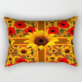 RED POPPIES YELLOW SUNFLOWERS BROWN PATTERN ART Rectangular Pillow
