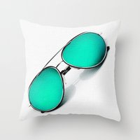sunglasses Throw Pillows featuring SUNGLASSES by Ylenia Pizzetti