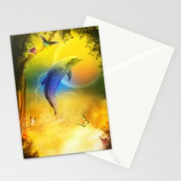 Colorful Dolphin Stationery Cards