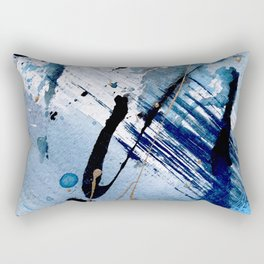 Breathe [2]: colorful abstract in black, blue, purple, gold and white Rectangular Pillow