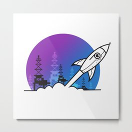 Rocket Blast Off to Space Metal Print