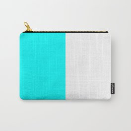 White and Aqua Cyan Vertical Halves Carry-All Pouch
