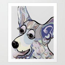 Corgi in Denim Colors Art Print