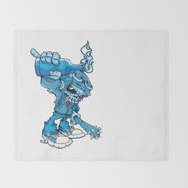 Anarchy Skeleton -  Iris Blue bottle fire skull Throw Blanket