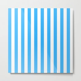 Blue and White Striped Metal Print