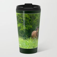 Horse in a pature Travel Mug