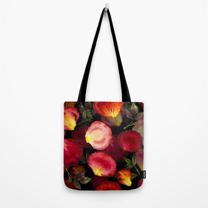 Rose Petal Pattern on Black 02 Tote Bag