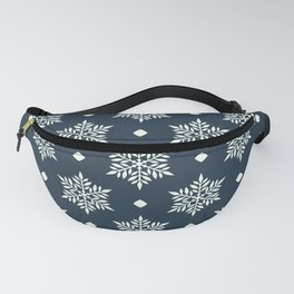 Christmas Snowflake Wallpaper Pattern On Blue Fanny Pack