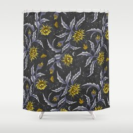 Queen of the Night - Grey Yellow Shower Curtain