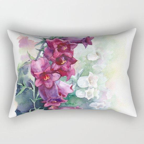 Campanula watercolor flowers aquarelle bellflowers Rectangular Pillow