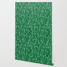 Geometric Cobweb (White & Olive Pattern) Wallpaper