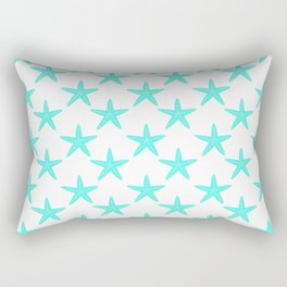 Starfishes (Turquoise & White Pattern) Rectangular Pillow