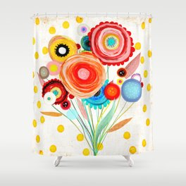 Ruth Fitta-Schulz  - Watercolour Floral Wedding Wedding Shower Curtain