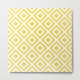 Yellow and white ethnic tribal zig zag rhombus pattern Metal Print