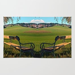 Bench under the tree | landscape photography Rug
