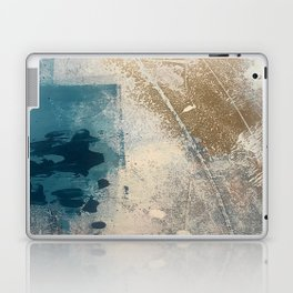 Embrace: a minimal, abstract mixed-media piece in blues and gold with a hint of pink Laptop & iPad Skin
