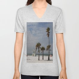 Clearwater Beach In Wintertime Unisex V-Neck