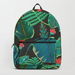 dark tropical red flowers Backpack