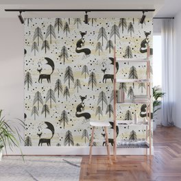 Foxy in winter pine forest Wall Mural