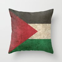 palestine Throw Pillows featuring Old and Worn Distressed Vintage Flag of Palestine by Jeff Bartels