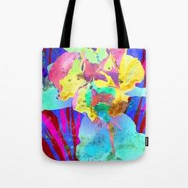 Fluorescent Watercolor Iris Art - Purple & Aqua Blue Tote Bag
