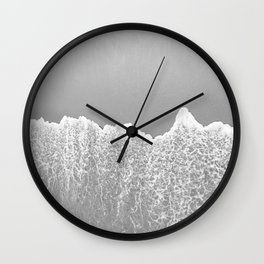 Ocean Wave B&W // Arial Photograph of Sand Beach in Huntington CA from the Pier Contemporary Look Wall Clock