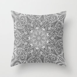 Gray Center Swirl Mandala Throw Pillow