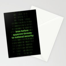 bros before apparent threats to national security Stationery Cards