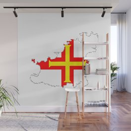 Guernsey Outline Silhouette Map With Inset Flag Wall Mural