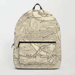 Hand-drawn map of the Western Front of World War I around Verdun (1917) Backpack