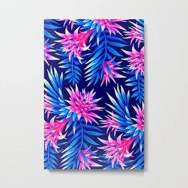 Aechmea Fasciata - Mid Blue/Pink Metal Print