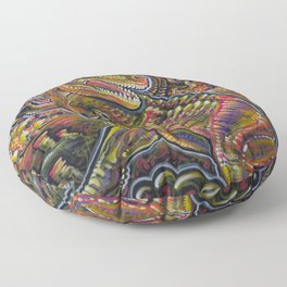 End of the World Party (Tyrannosaurus rex + UFOs) Floor Pillow