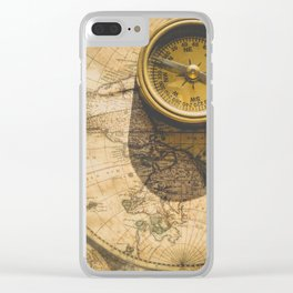 Vintage World Map with Old Compass Clear iPhone Case