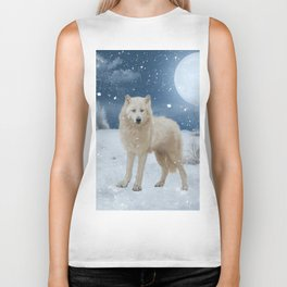 Awesome arctic wolf in the night Biker Tank