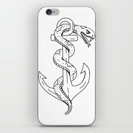 Rattlesnake Coiling on Anchor Drawing iPhone Skin