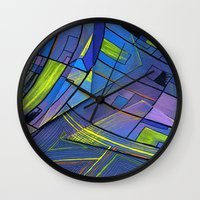 cities Wall Clocks featuring Purple cities by Squidfeathers
