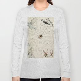 Vintage Garden Spider with Web Illustration (1891) Long Sleeve T-shirt