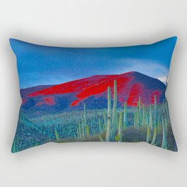 Green Cactus Field In The Desert With Red Mountains Blue Grey Sky Landscape Photography Rectangular Pillow