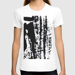Blank: a minimal black and white linoprint T-shirt