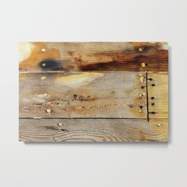 Wooden shipboard with nails and screws Metal Print
