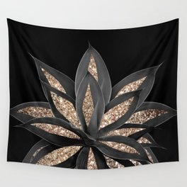 Gray Black Agave with Gold Glitter #1 #shiny #tropical #decor #art #society6 Wall Tapestry