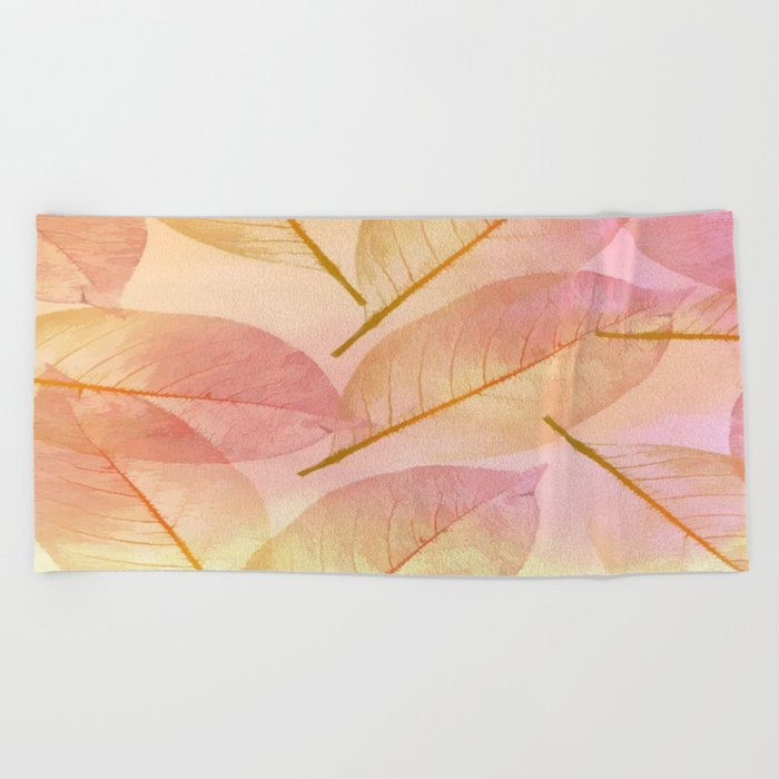 Pastel Fall Leaf Abstract Beach Towel