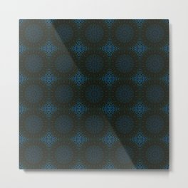 Classic Blue and Bown Tiled Kaleidoscope Pattern Metal Print