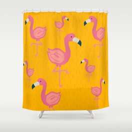 Flamingo party illustration Shower Curtain