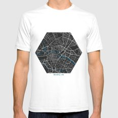 Berlin city map black colour White SMALL Mens Fitted Tee
