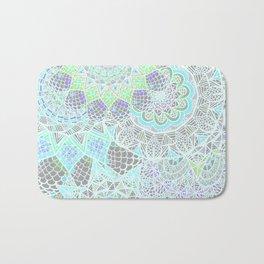 Spring Explosion: Bright Green and Blue Mandala Pattern Bath Mat