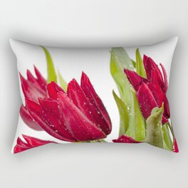 Red tulip heads sprinkled with water Rectangular Pillow
