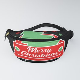Merry christmas, car with christmas tree Fanny Pack